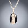 Small Oval Black and Gold Art Deco Inspired Pendant Necklace in 14K Yellow and Rose Gold Fill