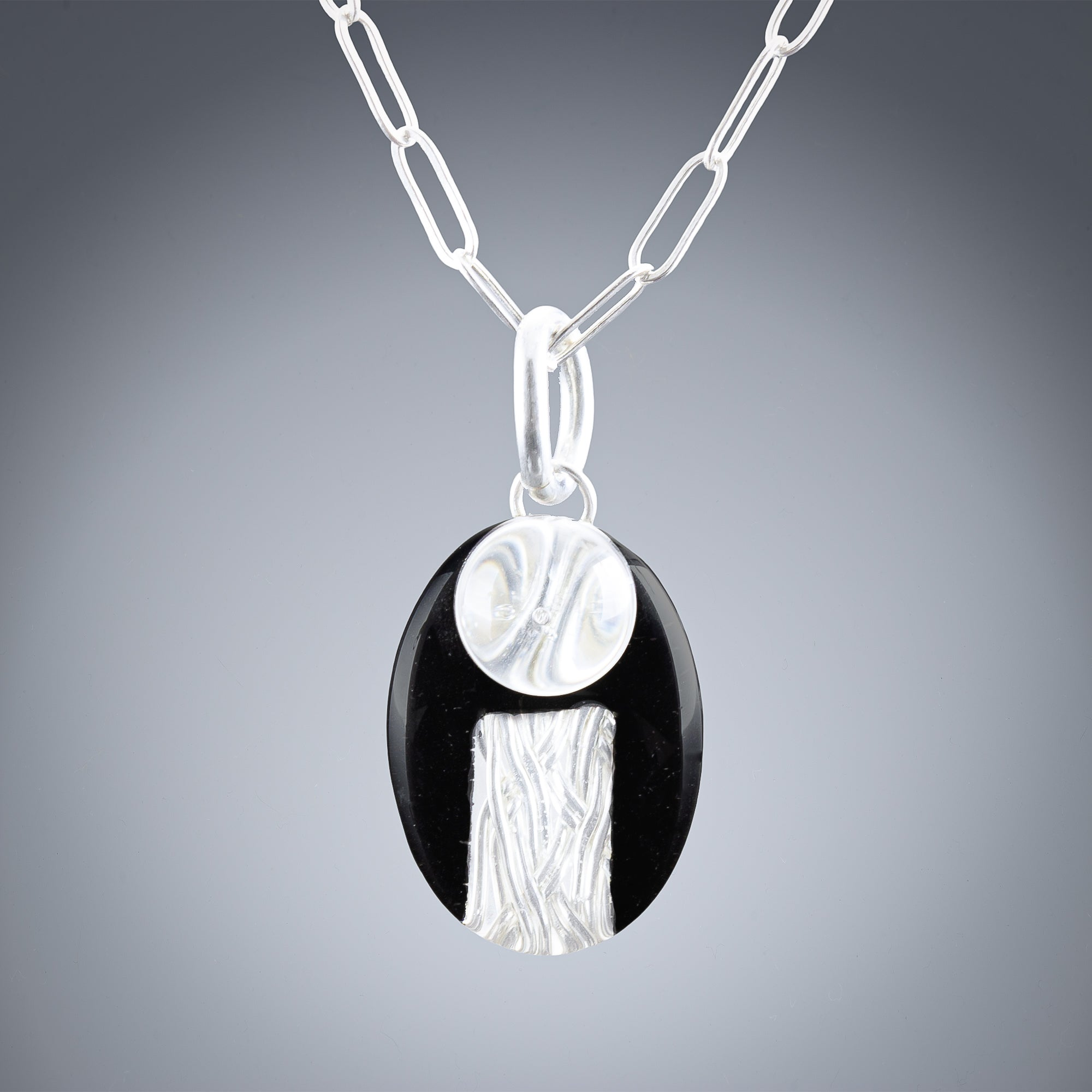 Woven Deco Small Oval Pendant in Silver