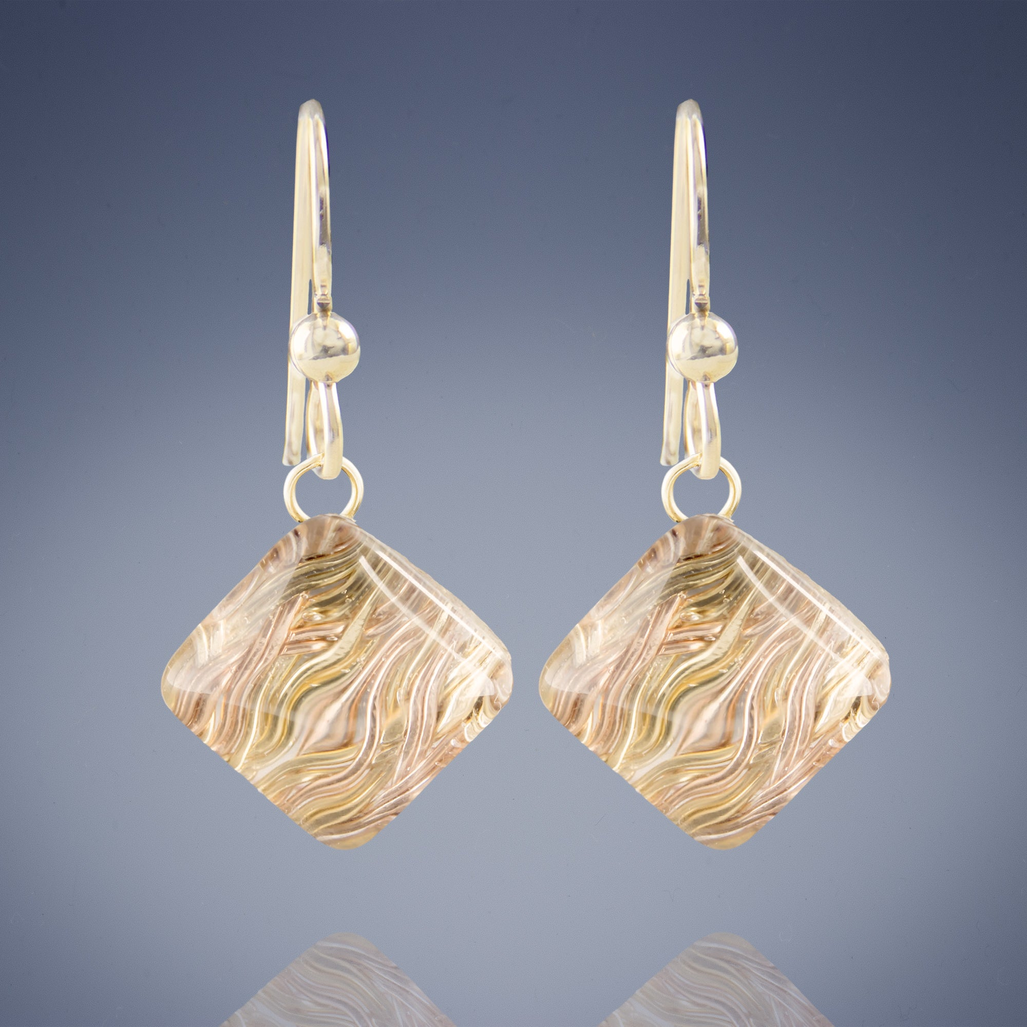 Geometric Pyramid Shaped Earrings Featuring Handwoven Wire and Glass in Silver or Gold Mix
