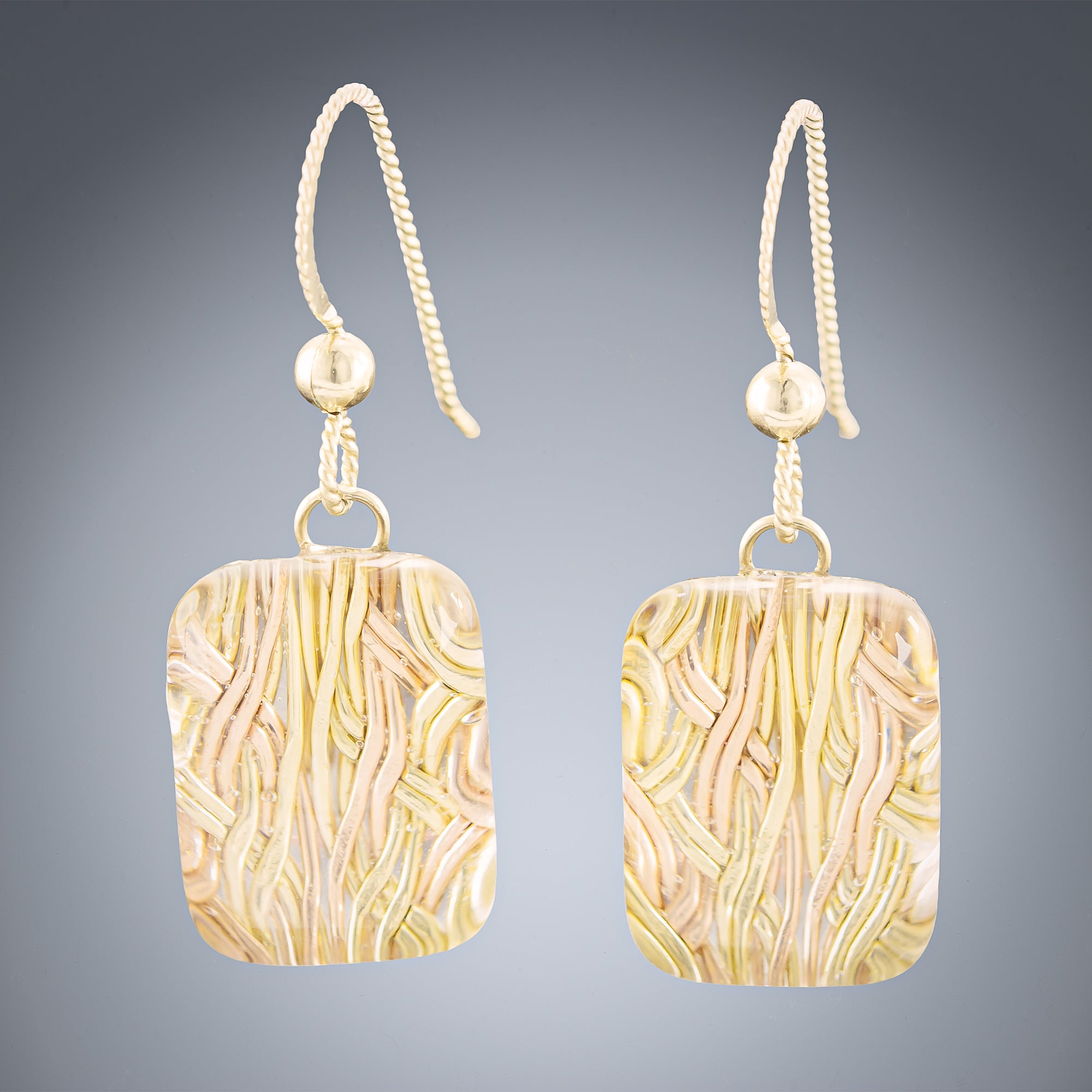 Woven Depths Earrings - Rectangle - Tahmi