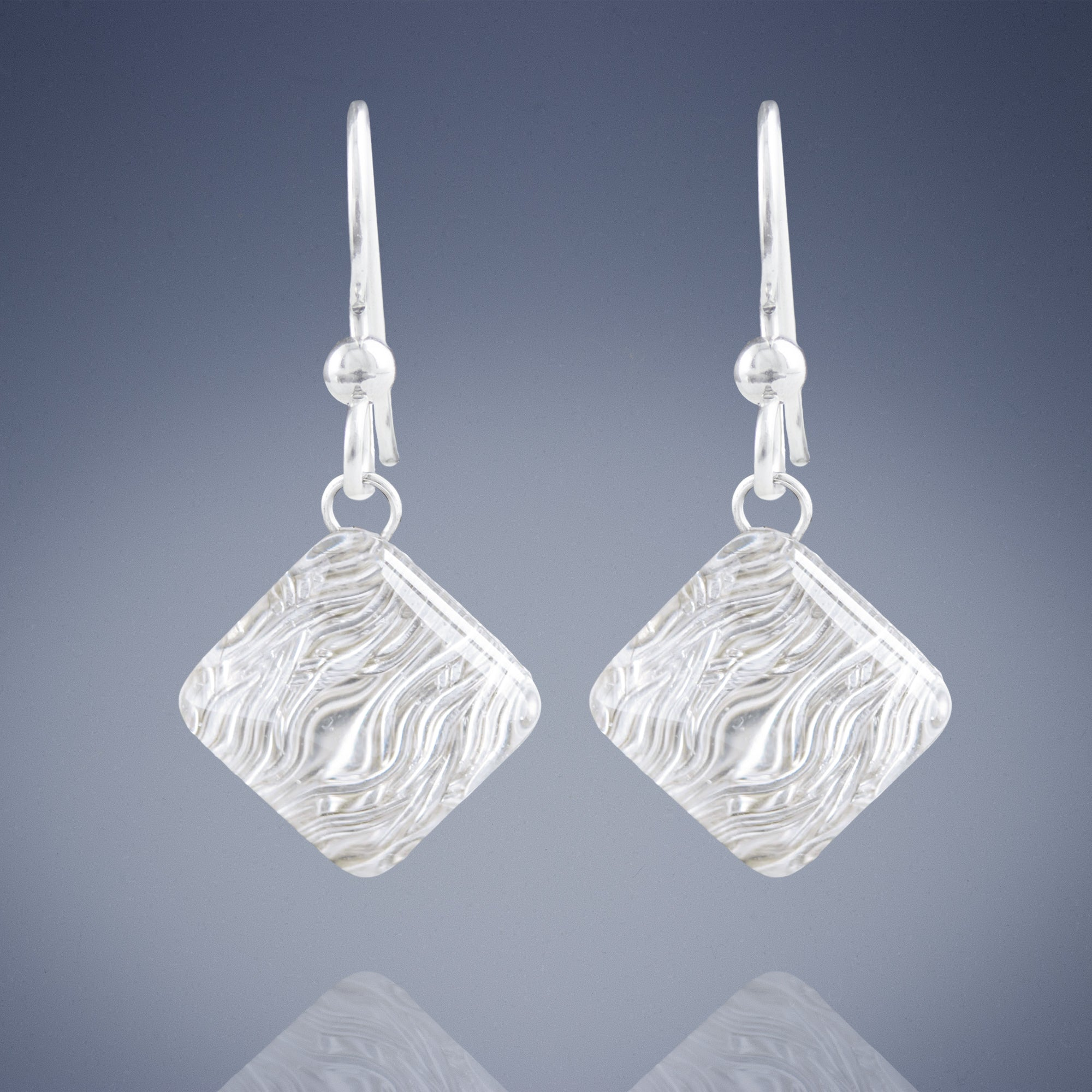 AS SEEN ON Netflix's Chambers: Silver Pyramid Shaped Earrings Featuring Handwoven Wire and Glass