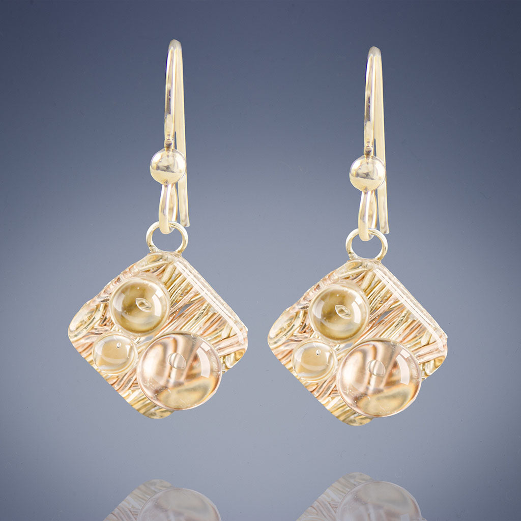 Woven Metal Raindrops in Diamond Shape: Sparkly Gold Drop Dangle Earrings in 14k Gold Filled Nickel Free Metal