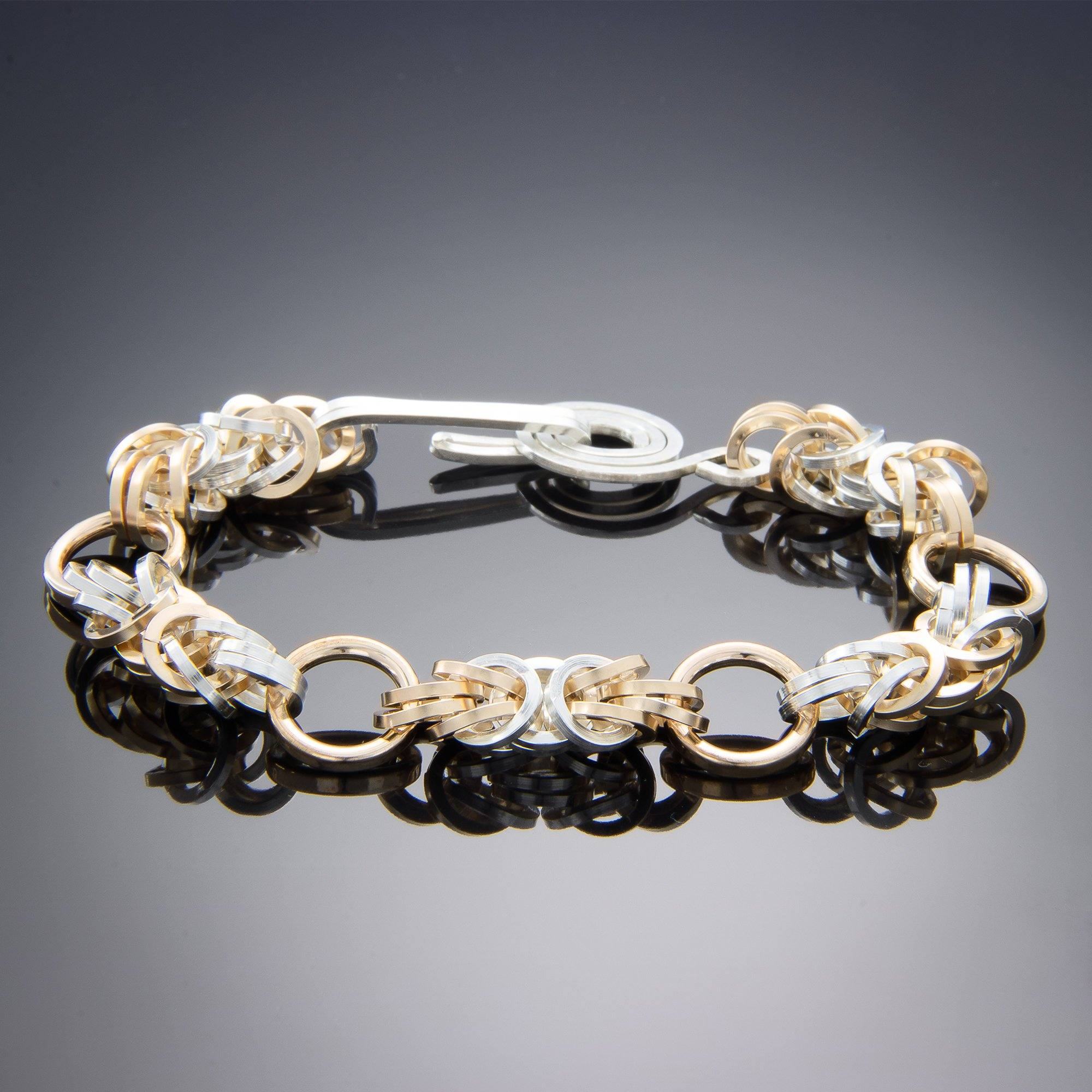 Tahmi - the art of woven metal: Divided Byzantine Chain Handmade Bracelet