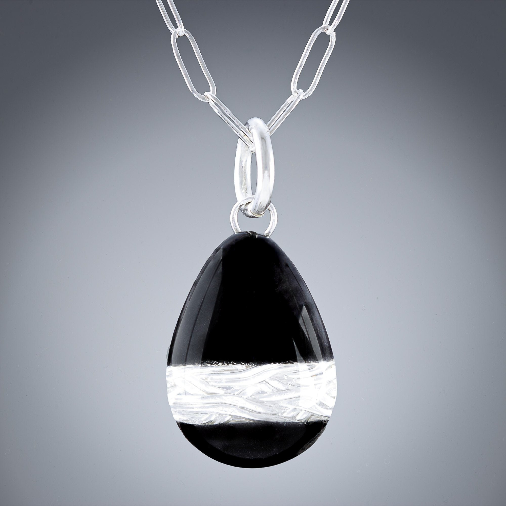Small Woven Depths and Black Enamel Teardrop Pendant in Silver