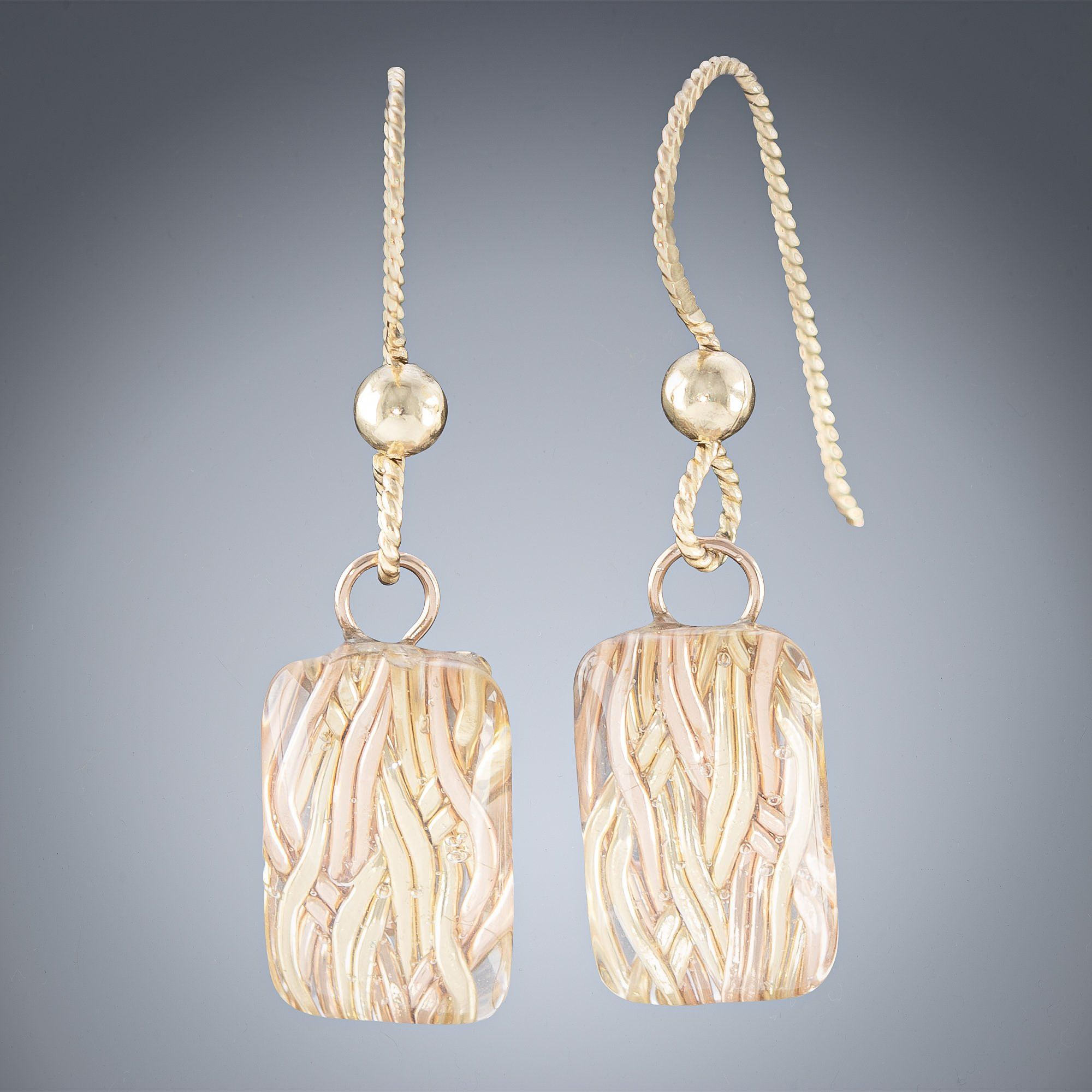 Woven Metal Raindrops in Rectangle: Sparkly Gold Drop Dangle Earrings in Silver or Gold