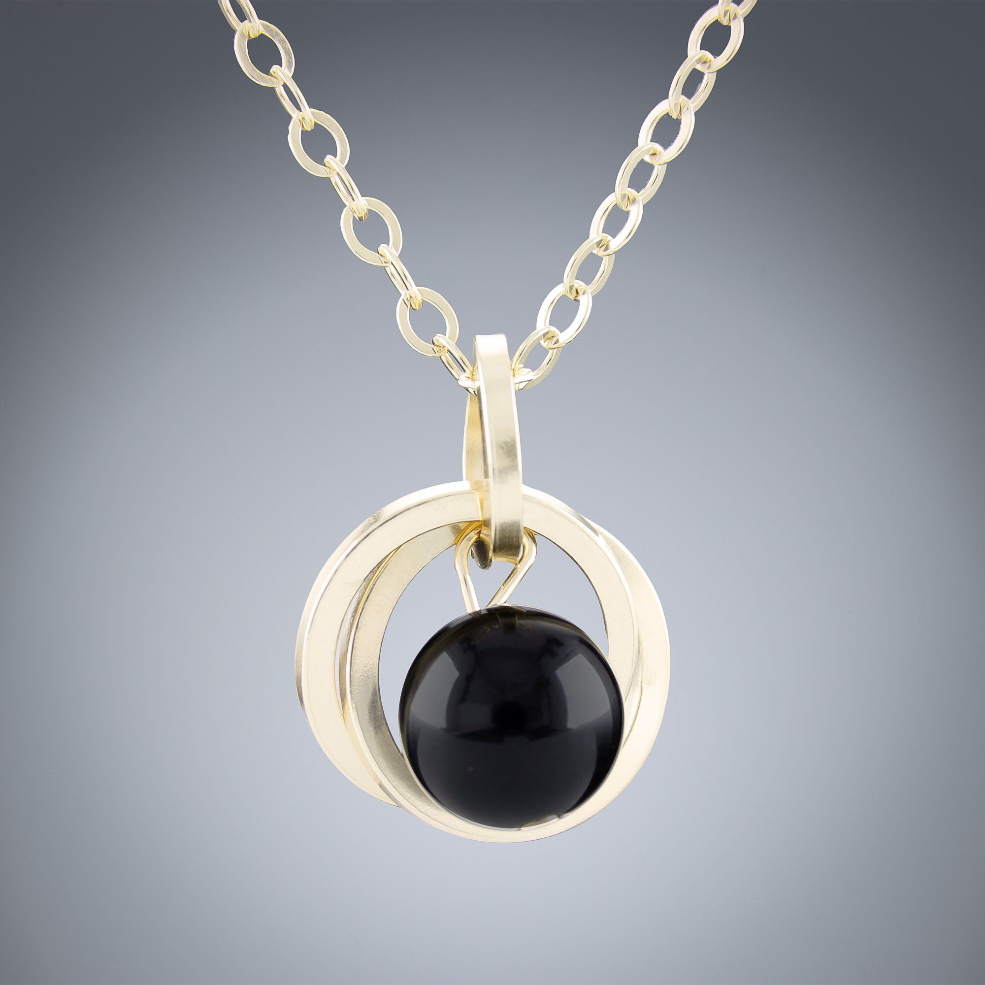 Square Wild Flower Black Onyx Pendant in Gold