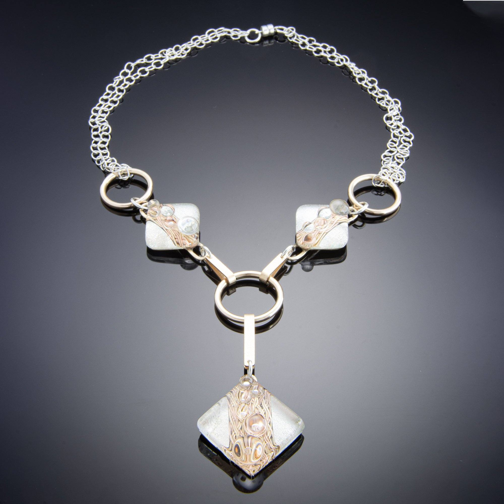 Tahmi - the art of woven metal: Bubbly Series - Woven Bubbly 'Y' Necklace