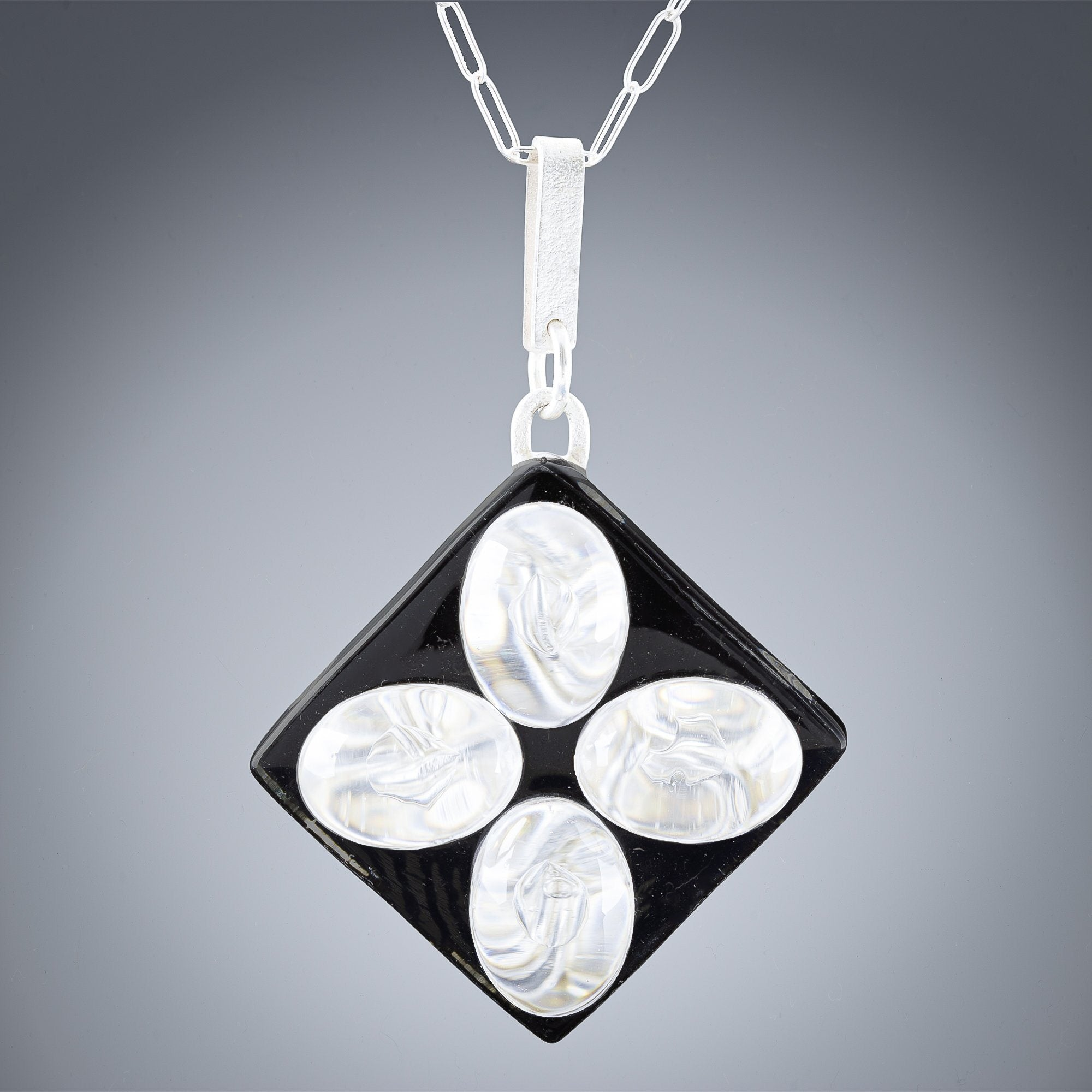 Woven Contrast Flower Large Pendant in Silver