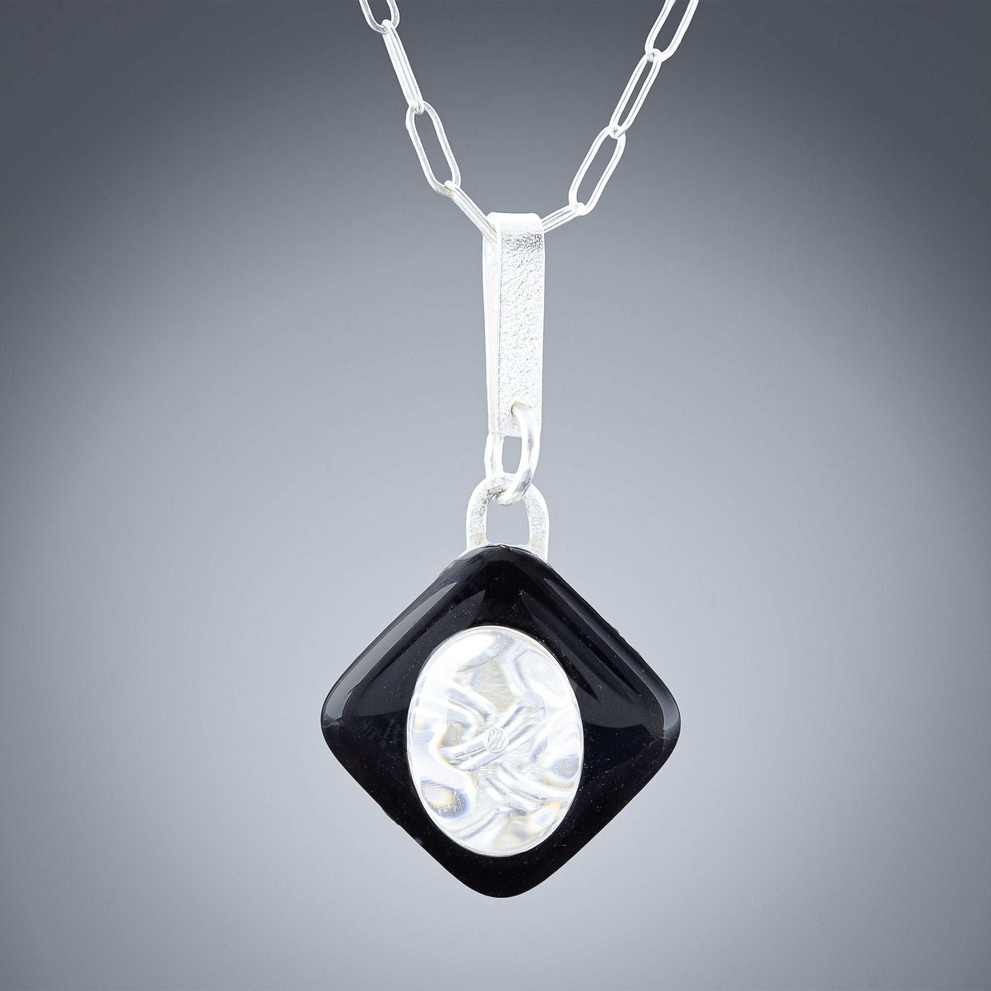 Woven Contrast Medium Pendant in Silver