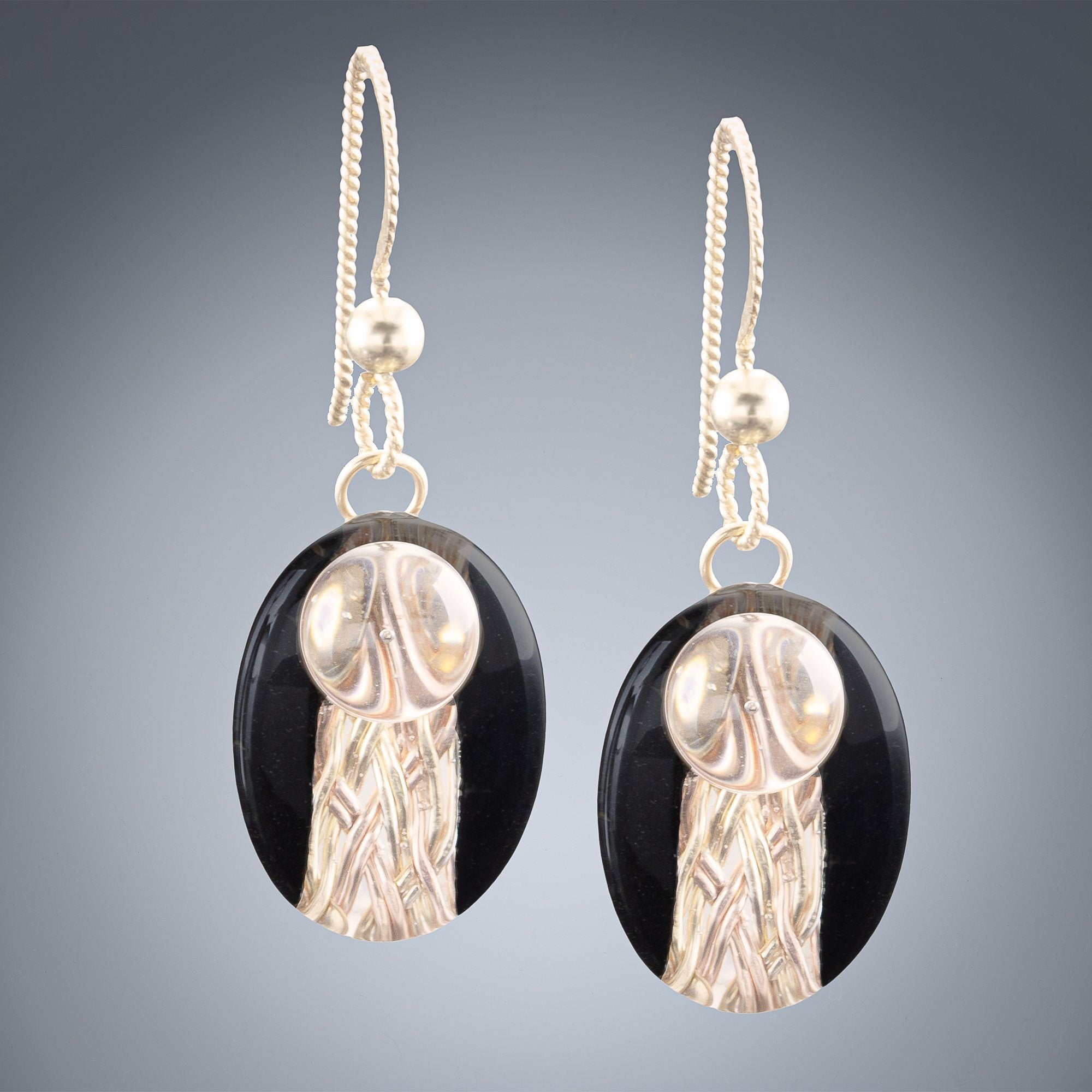 Handwoven Oval Black and Gold Art Deco Inspired Earrings in both 14K Yellow and Rose Gold Fill