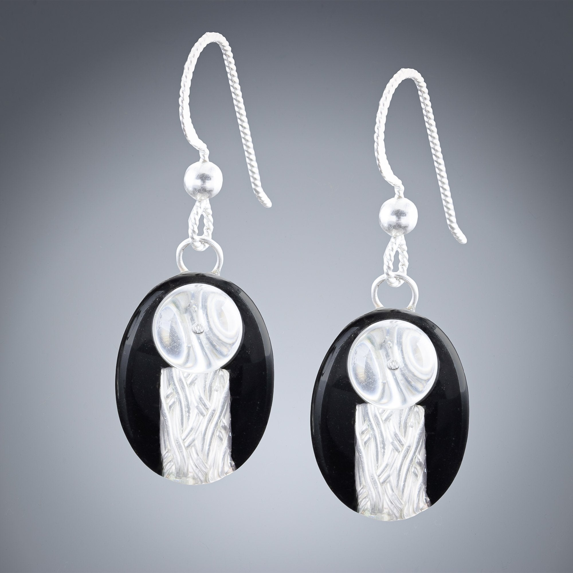 Handwoven Oval Black and Silver Art Deco Inspired Earrings in Sterling Silver