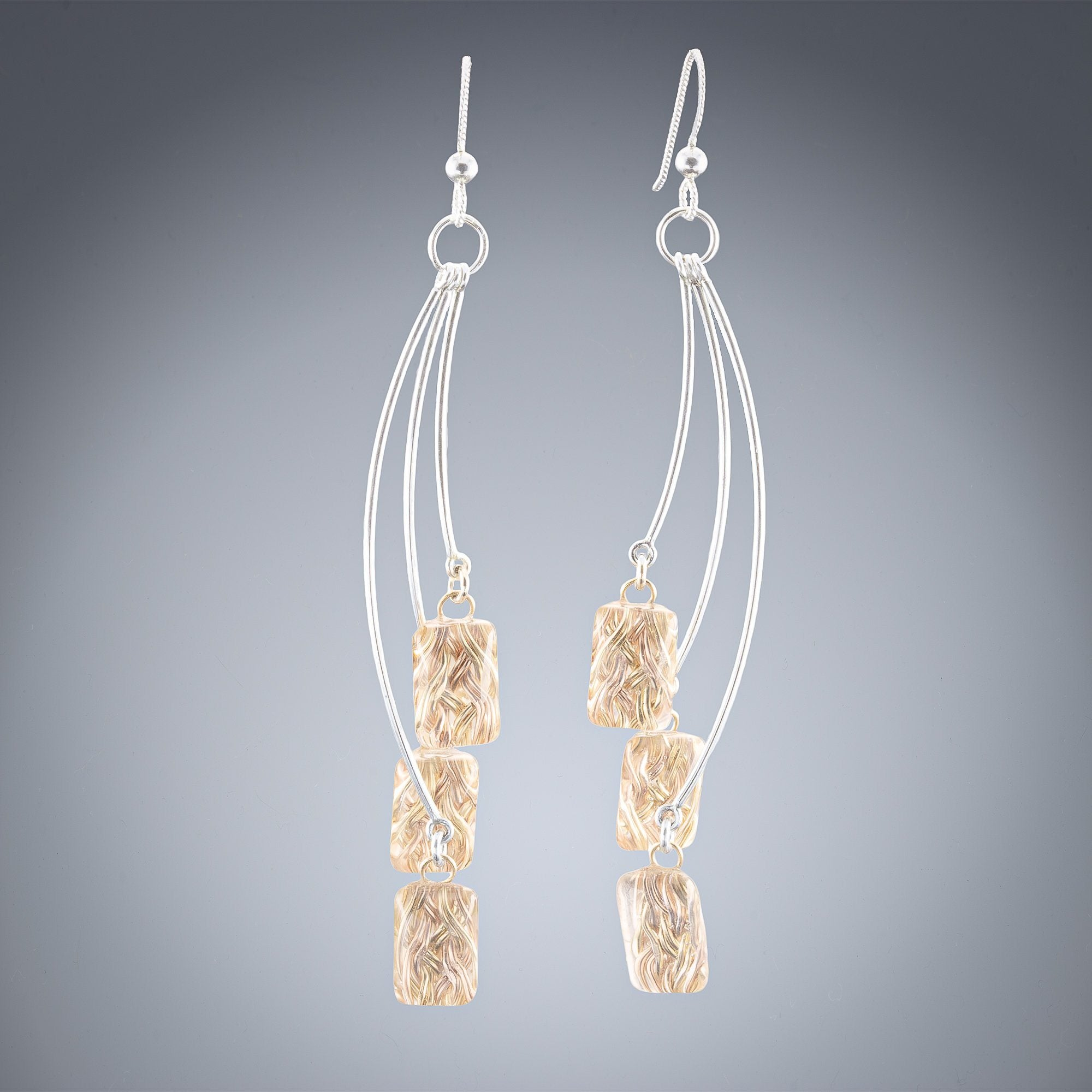 Fireworks: Layered Woven Depths Dangle Drop Earrings