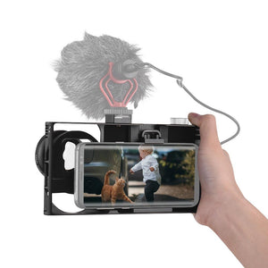 Phone Video Rig w/Hot Shoe Mount & Macro/Wide Angle Lens - Phonetographr