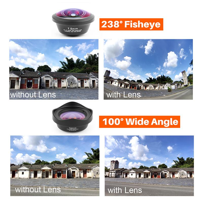 Phone Lens Kit-Marco+Fish Eye+Telephoto+Wide Angle