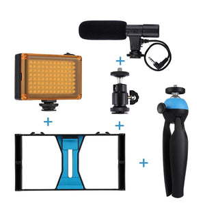 Vlogging and Smartphone Video Rig+LED Studio Light+Cold Shoe Head+Microphone+Mini Tripod - Phonetographr