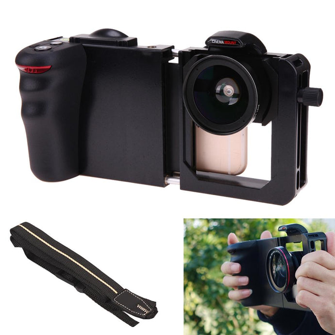 Camera Phone Stabilizer Cinema Mount + Wide Angle+Macro Lens - Phonetographr