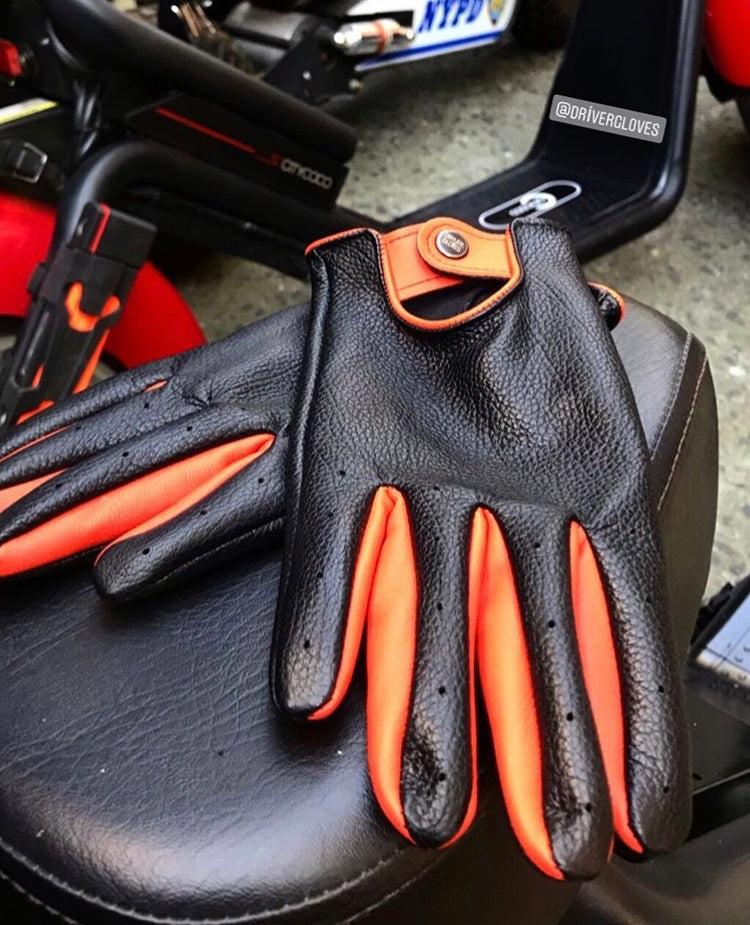 The Retro Black & Orange Driver Gloves - THE BLACK EARS