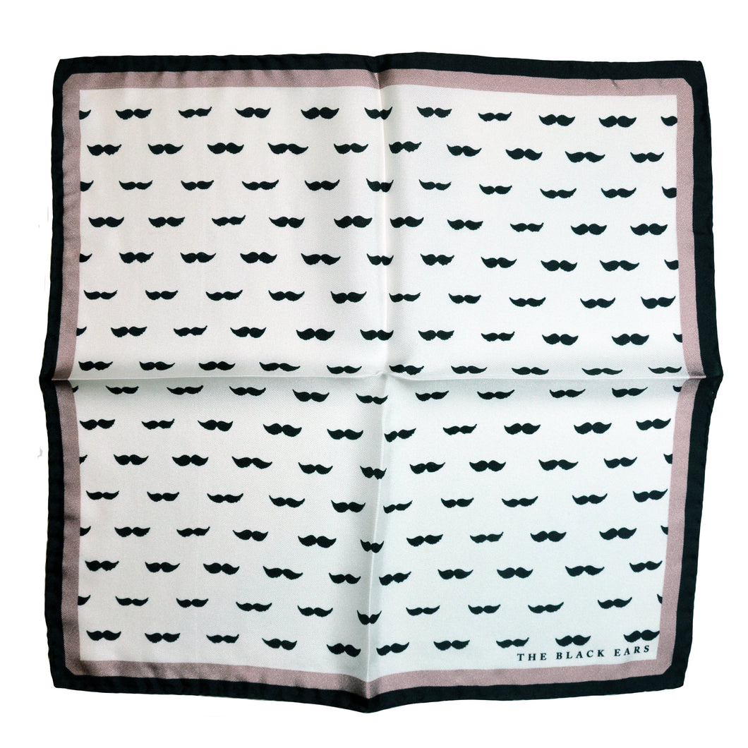The Gentleman Moustache - Pink Silk Pocket Square - THE BLACK EARS