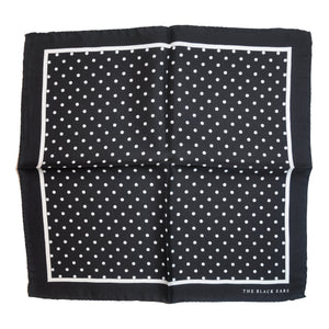 The Pin-Dot Black Silk Pocket Square - THE BLACK EARS