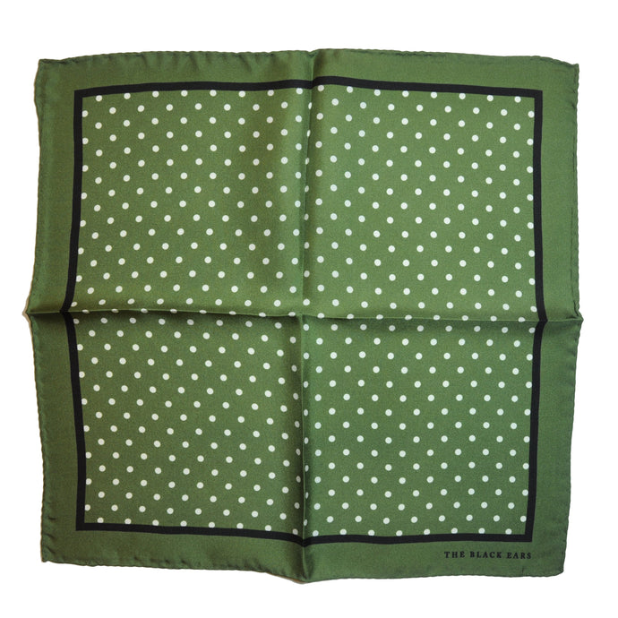 The Pin-Dot Green Silk Pocket Square - THE BLACK EARS