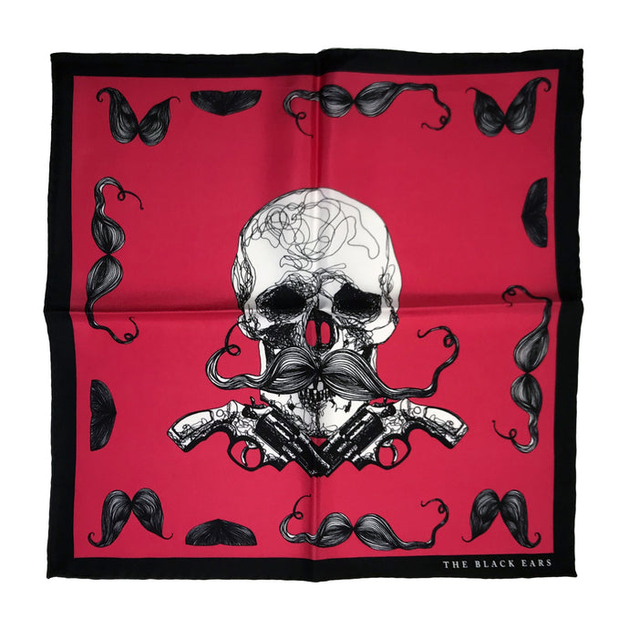 The Skull and Guns Silk Pocket Square / Scarf - THE BLACK EARS