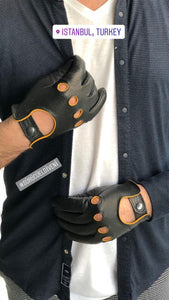 The Retro Black & Yellow Driver Gloves - THE BLACK EARS