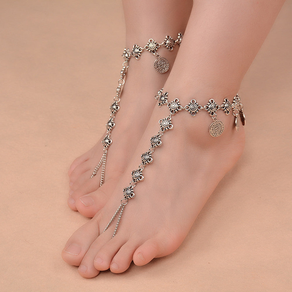 starry retro accessory shipping foot anklets female beach from national in pendant yoga chains double o on accessories gift free anklet item rune sexy jewelry