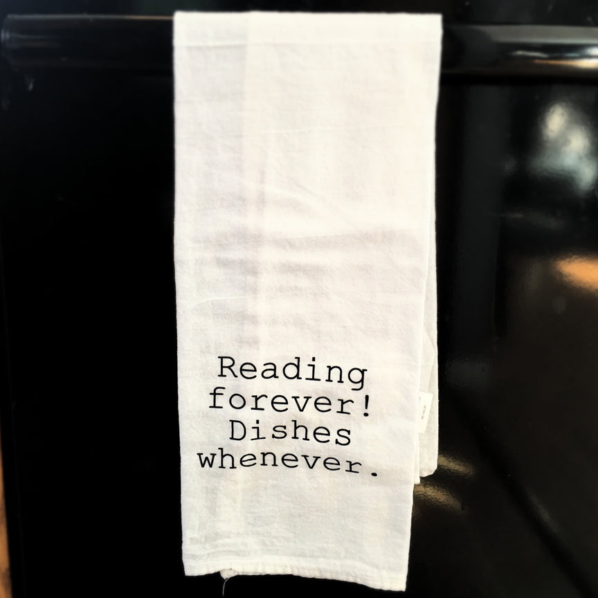 Towel: Reading forever, dishes whenever