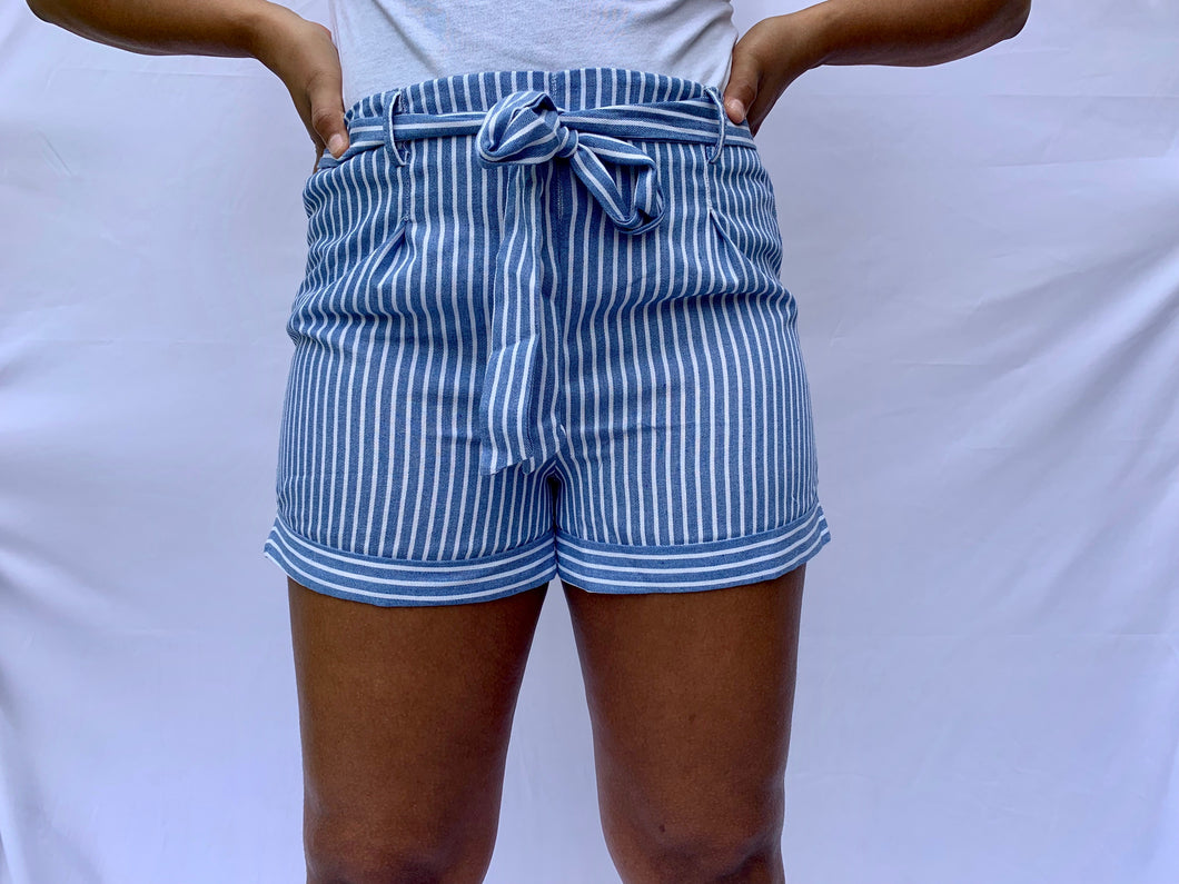 Light Blue Striped Shorts