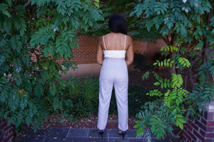 Paper Bag Gray Jumpsuit with Contrast Tank