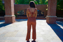 Orange Rust Thick Strap Jumpsuit With Open Back & Flare Pants