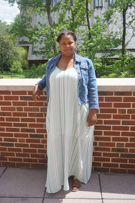 Sage Stripe Maxi Dress