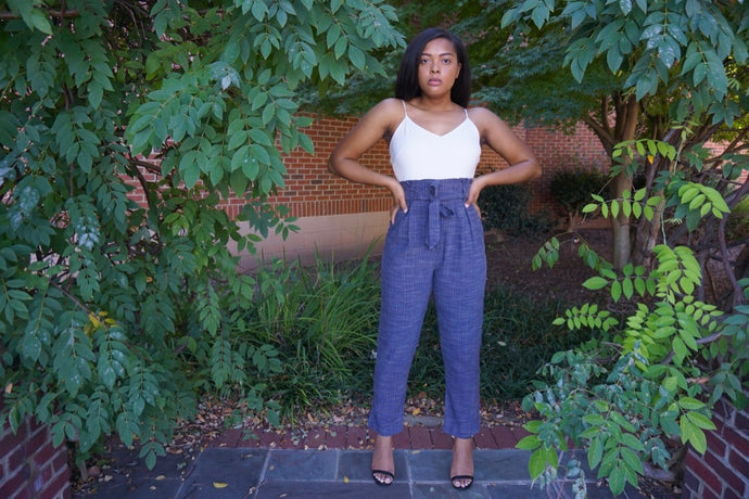 Paper Bag Navy Jumpsuit with Contrast Tank
