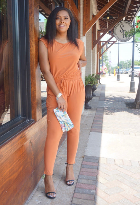 Orange Spaghetti Strap Backless Jumpsuit