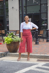Red Stripe Spaghetti Strap Jumpsuit