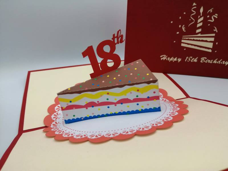 Fabulous 18Th Birthday Slice Of Cake Paper Bear Personalised Birthday Cards Veneteletsinfo