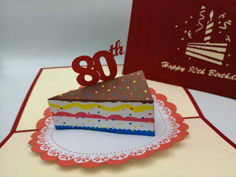 80th Birthday -  Slice of cake