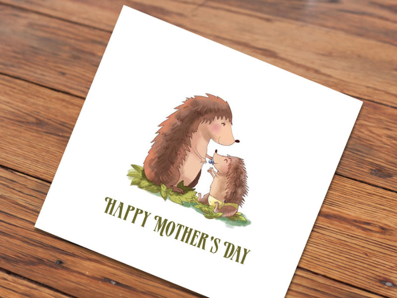 Happy Mother's Day Hedgehogs (Illustrated Card)