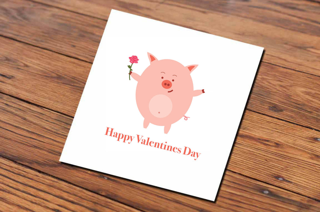 Happy Valentine's Day Pig (Illustrated Card)