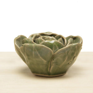 Green Rose Ceramic Flower