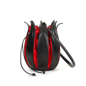 Black/Red Tulip Hand Bag