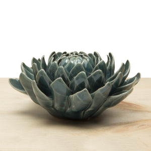 Teal Dahlia Ceramic Flower