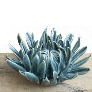 Teal Mum Ceramic Flower
