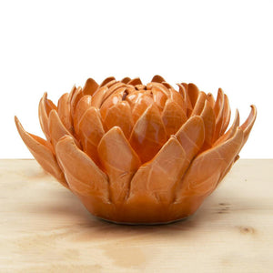 Orange Dahlia Ceramic Flower