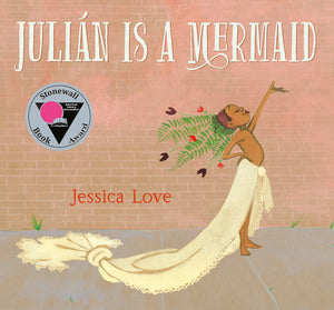Book cover young boy in a makeshift mermaid costume looking happy