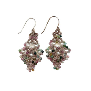 Diamond shaped earrings using a pattern of semiprecious jewels and tatted metallic lace