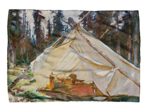 Tent in the Rockies Silk Scarf