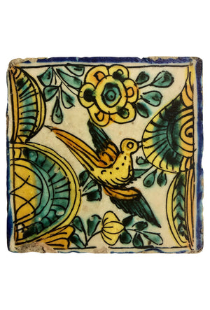 Mexican Coaster: Bird with Blue Border
