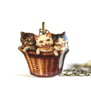 Resin Kitty Basket Necklace