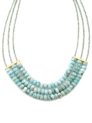 Gold Necklace with Larimar and Labradorite Beads